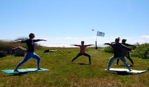 Morgen yoga under åben himmel i Lynæs